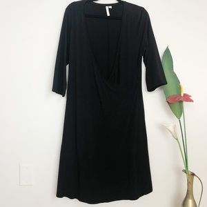 J. JILL Pure Jill Black Faux Wrap Career Dress